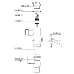 """Ecoulement complet Benkiser pour réservoir WC 3/4"""" long 90 mm"""