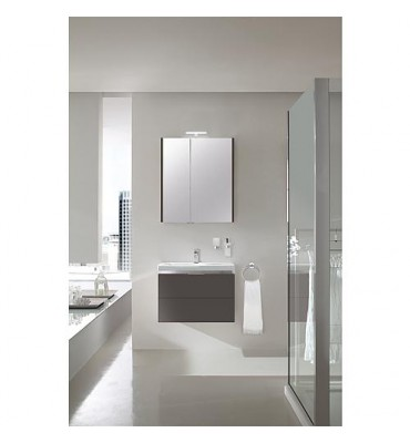 Kit de meuble de bains EOLA anthracite mat, largeur 700mm 2 tiroirs