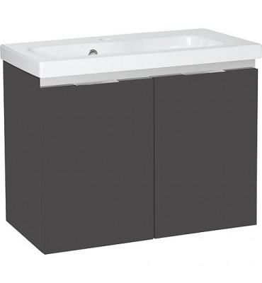 Meuble sous vasque + vasque EOLA anthracite brillant, 2 portes 610x580x380mm