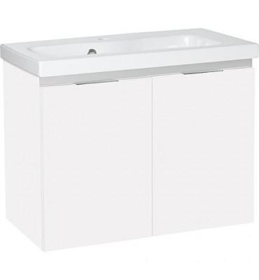 Meuble + lavabo ceramique EOLA 2 portes - blanc brillant 710x578x380mm