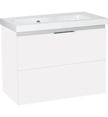 Meuble sous vasque + vasque EOLA blanc brillant 2 tiroirs 710x580x380mm