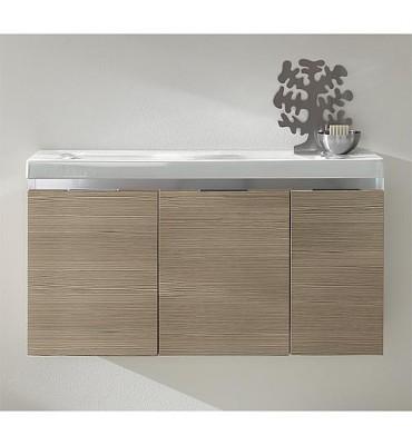 Meuble sous vasque avec vasque céramique EOLA - 3 portes - mélèze marron clair 960x580x380mm