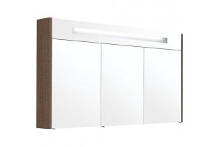 Armoire a glace avec éclairage intégré Tranche brun et 3 portes 1200x750x188 mm