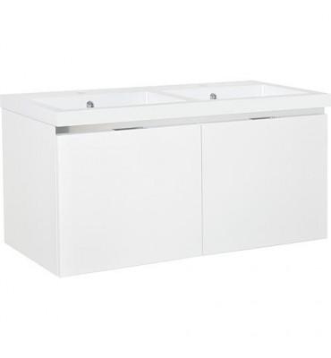 Meuble sous vasque + vasque fonte EPIC 2xtiroirs, blanc brillant 1210x580x510 mm