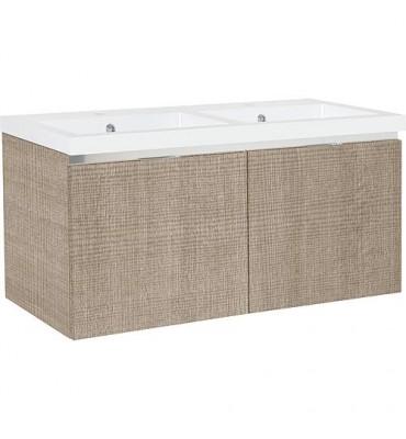 Meuble sous vasque + vasque fonte EPIC 2xtiroirs, tranche écru 1210x580x510 mm