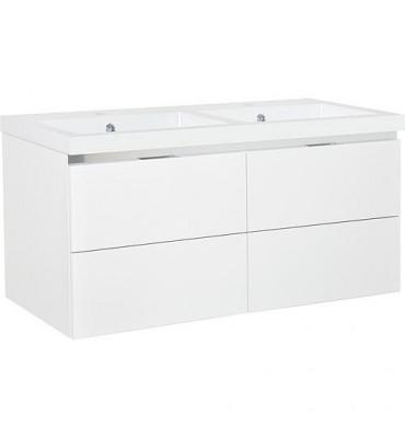 Meuble sous vasque + vasque EPIC blanc brillant, 4 tiroirs 1210x580x510mm