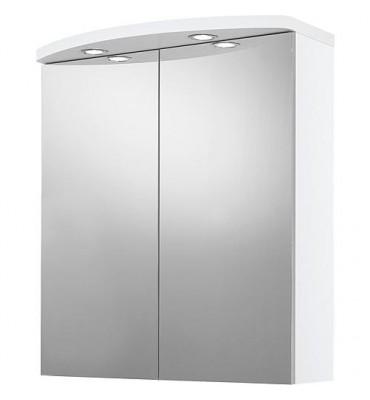 armoire miroir avec éclairage decor blanc 2 portes 700x798x205/340