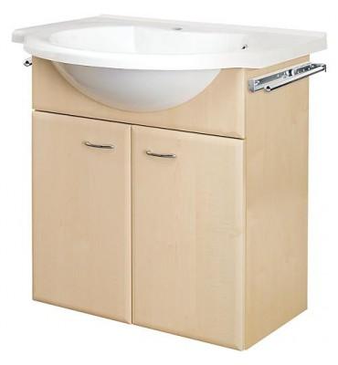 Meuble sous vasque+vasque fonte minerale ETANA, decor poire , 2 portes 700x670x330/500 mm