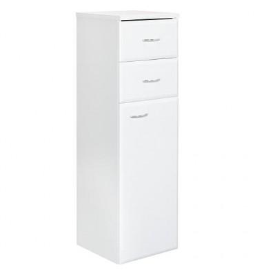 Armoire haute Serie MAC 1 porte 2 tiroirs blanc brillant ouvert. gauche lxHxP 300x984x320 mm