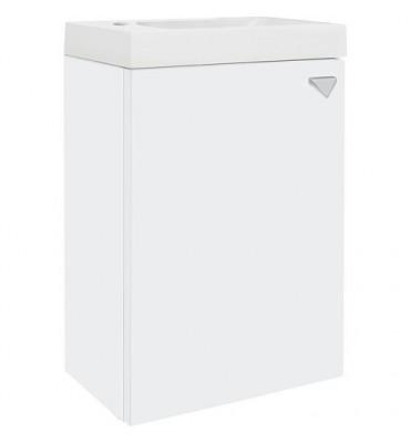 Meuble sous vasque+vasque fonte minéral ELYP, 1porte, blanc mat butée gauche, 400x609x220mm