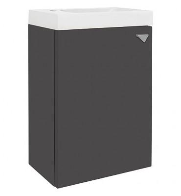 meuble sous-vasque, fonte minérale ELYP 1 porte anthracite brillant, ouverture droite lxHxP-400x609x220mm