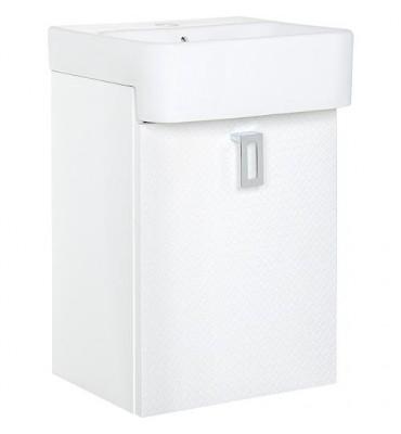 Meuble sous vasque+EDMA vasque céramique 1 porte, blanc brillant butee droite, 355x550x278/355