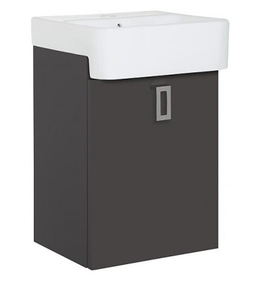 Meuble sous vasque+ EDMA vasque céramique 1 porte, anthracite brillant, droite, 355x550x278/355