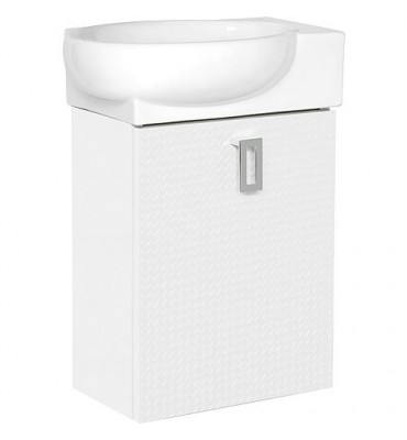 Meuble sous vasque+EDMA vasque céramique 1 porte, blanc butee droite, 435x500x208/275