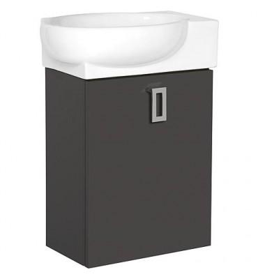 Meuble sous vasque + EDMA vasque céramique, 1 porte, anthracite butee droite, 435x500x208/275