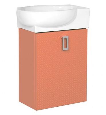 Meuble sous vasque + EDMA vasque céramique, 1 porte, cerise butee droite, 435x500x208/275