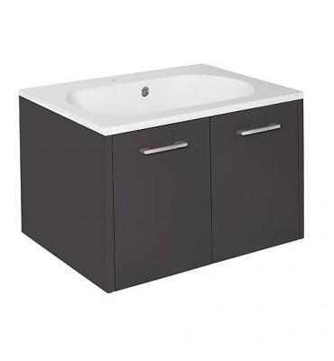 Meuble sous vasque+vasque fonte minerale ENI anthracite brillant,2 portes 600x459x500 mm