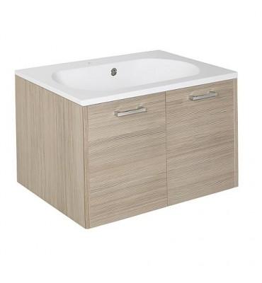Meuble sous vasque+vasque fonte minerale ENI mélèze bicolore,2 portes 600x459x500 mm