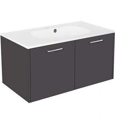 Meuble sous vasque+vasque fonte minerale ENI anthracite brillant,2 portes 900x459x500 mm