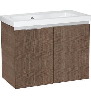 Meuble sous vasque + vasque EOLA tranche marron, 2 portes 610x580x380mm