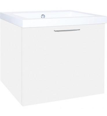 EKRY Meuble sous vasque +vasque en fonte minérale, blanc brillant, 1 tiroir 610x550x510 mm