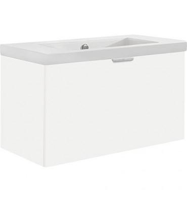 Meuble sous vasque + vasque EPIL blanc brillant 1 tiroir 710x550x510mm