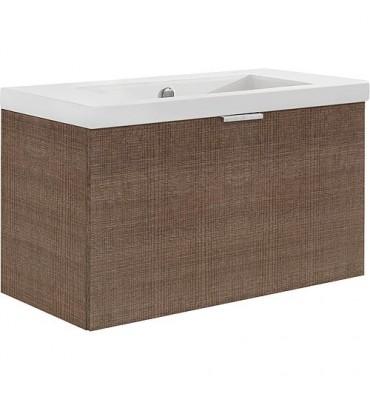 Meuble sous vasque + vasque EPIL tranche marron 1 tiroir 710x550x510mm