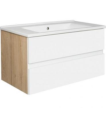 Meuble sous vasque + vasque céramique EGAN, blanc mat, Asteiche 2 tiroirs, 853x466x455mm