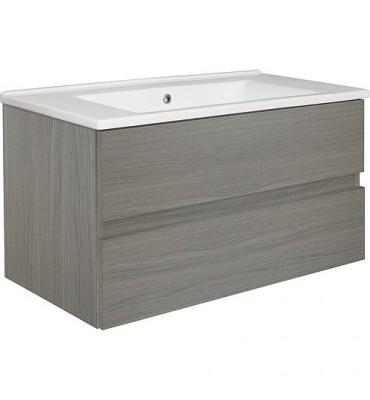 Meuble sous vasque + vasque céramique EGAN, Ulme gris, 2 tiroirs, 853x466x455mm
