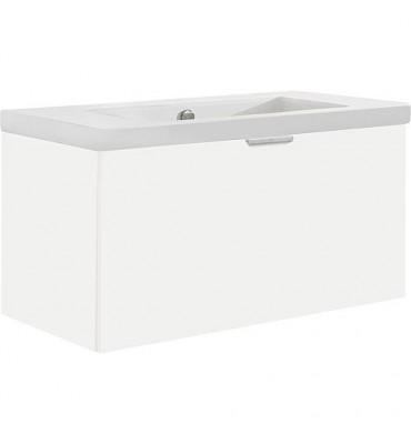 Meuble sous vasque avec vasque ceramique EPIL 1 tiroir, blanc brillant 860x550x510mm