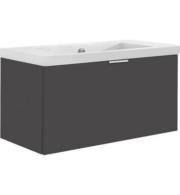 Meuble sous-vasque avec vasque céramique EPIL 1 tiroir, anthracite brillant 860x550x510 mm