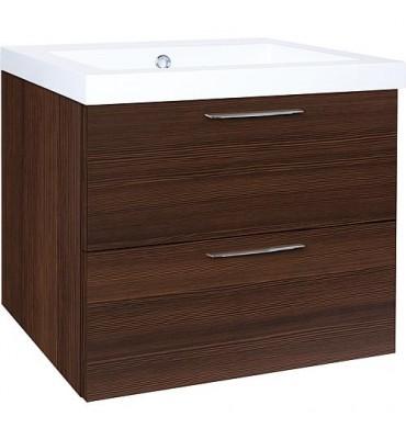 Meuble sous vasque + vasqueEKRY mélèze marron 2 tiroirs 610x550x510mm