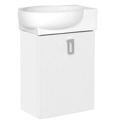 Meuble sous vasque+vasque ´ céramique EDMA, 1 porte,blanc brillant, droite, 435x500x208/275