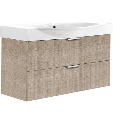 Meuble sous-vasque avec vasque ceramique ESBI, 2 tiroirs, tranche écrue 970x539x380/490mm