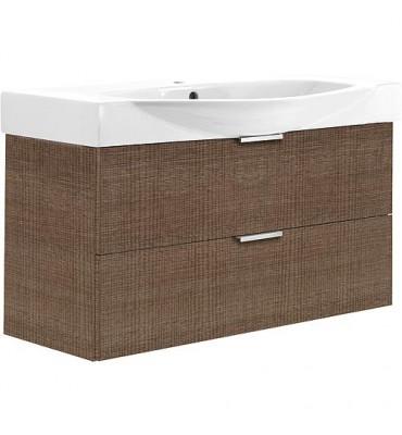 Meuble sous-vasque avec vasque ceramique ESBI 2 tiroirs, tranche brune 970x539x380/490mm