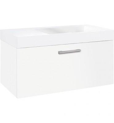 Meuble sous vasque+vasque fonte minéral ELISA, blanc brillant, 1 tiroir 905x534x505 mm