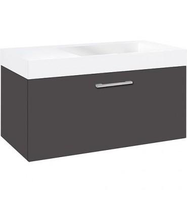 Meuble sous vasque + vasque ELISA, anthracite mat, 1 tiroir 905x534x505mm