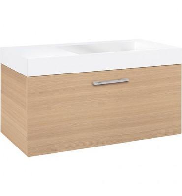 Meuble sous vasque + vasque fonte minéra ELISA, chêne clair, 1 tiroir 905x534x505 mm