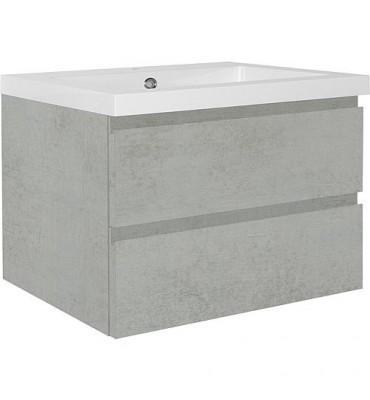Meuble sous vasque+vasque fonte minéral ELAI, chêne gris pierre 2 tiroirs, 860x550x510mm