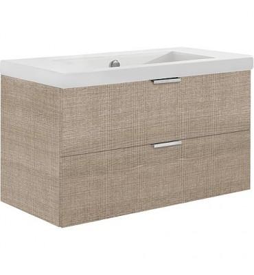 Meuble sous vasque + vasque EPIL tranche ecru 2 tiroirs 860x550x510mm