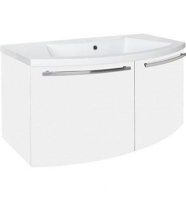 Meuble sous vasque + vasque minerale ELONIA, blanc mat 2 portes 960x535x375/514
