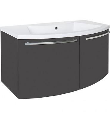 Meuble sous vasque + vasque ELONIA, anthracite brillant 2 portes, 960x535x375/511