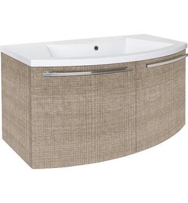 Meuble sous vasque + vasque ceramique ELONIA, tranche écru 2 portes, 960x535x375/512