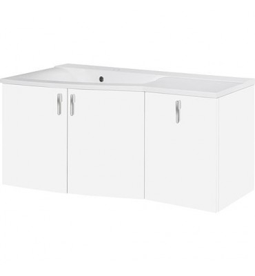 Meuble sous vasque + vasque EBAMO, blanc mat, 3 porte, tablette à droite, 1060x526x370/510