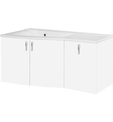 Meuble + vasque fonte minerale EBAMO blanc brillant - égouttoir à gauche 1060x526x370/510mm. 3 portes