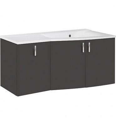 Meuble sous vasque + vasque EBAMO, anthracite mat, 3 portes tablette a droite 1060x526x370/510