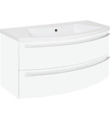 Meuble sous vasque + vasque minerale ELONIA, blanc mat, 2 tiroirs, 960x535x375/515